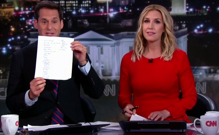 CNN's John Berman holds up a list of people Wolf joked about on air shortly after her set.