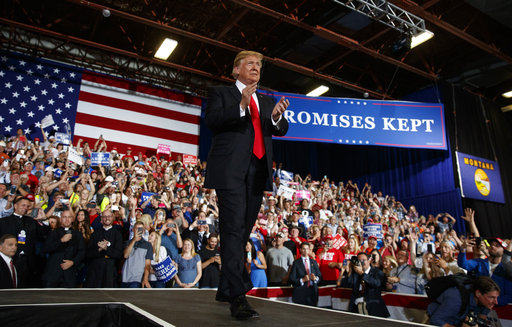 President Donald Trump arrives to speak during a rally at the Four Seasons Arena at Montana ExpoPark, Thursday, July 5, 2018, in Great Falls, Montana