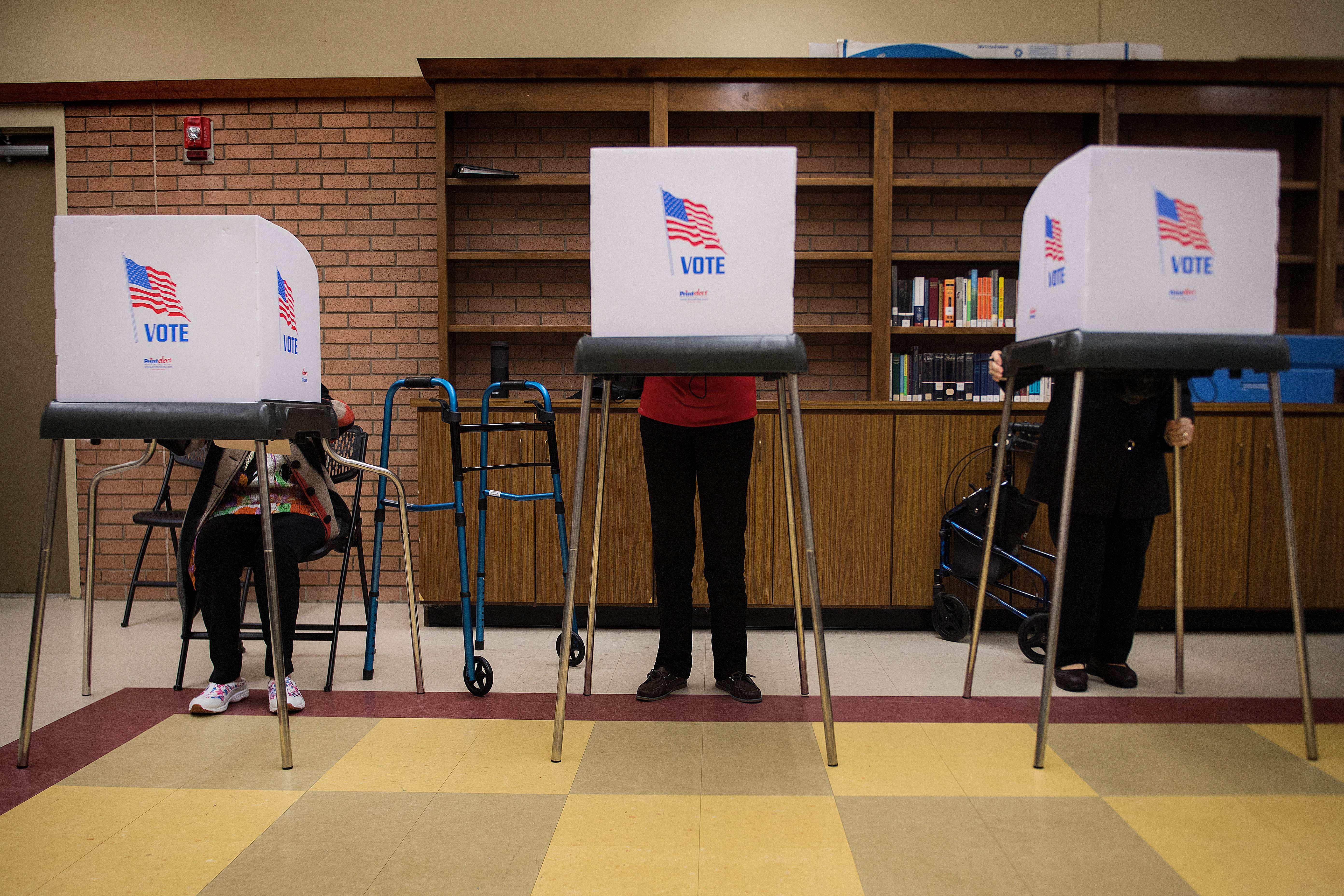 Voters in Chestertown, Maryland, cast ballots in Maryland's early voting on Oct. 25.