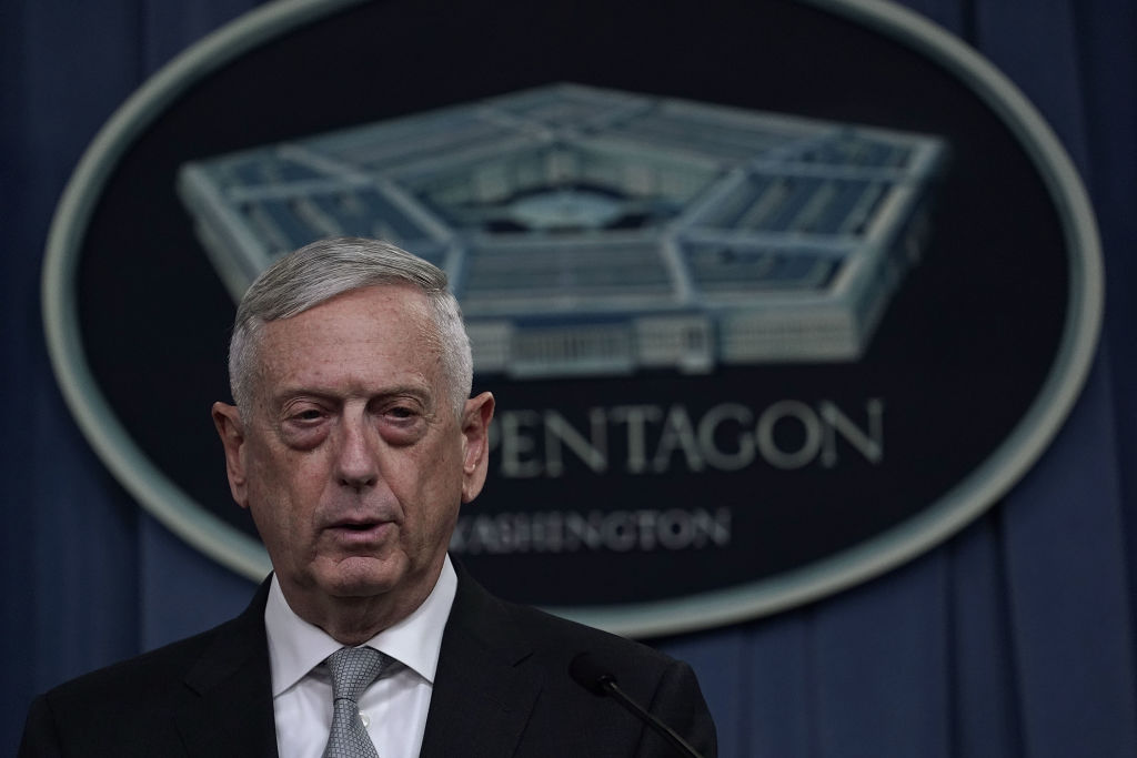 US Defense Secretary Jim Mattis briefs members of the media on Syria at the Pentagon April 13, 2018 in Arlington, Virginia. President Donald Trump has ordered a joint force strike on Syria with Britain and France over the recent suspected chemical attack by Syrian President Bashar al-Assad.