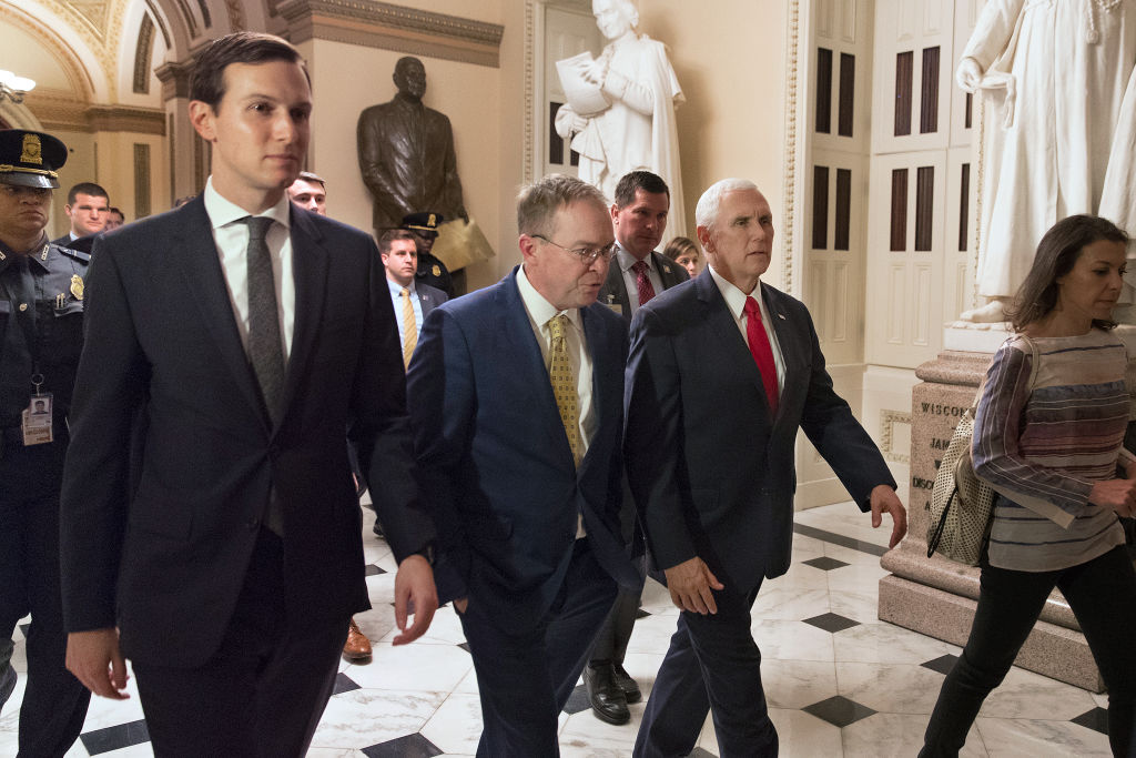 White House senior adviser Jared Kushner, acting chief of staff Mick Mulvaney and Vice President Mike Pence met with lawmakers at the US Capitol Dec. 21, 2018 in Washington, DC.