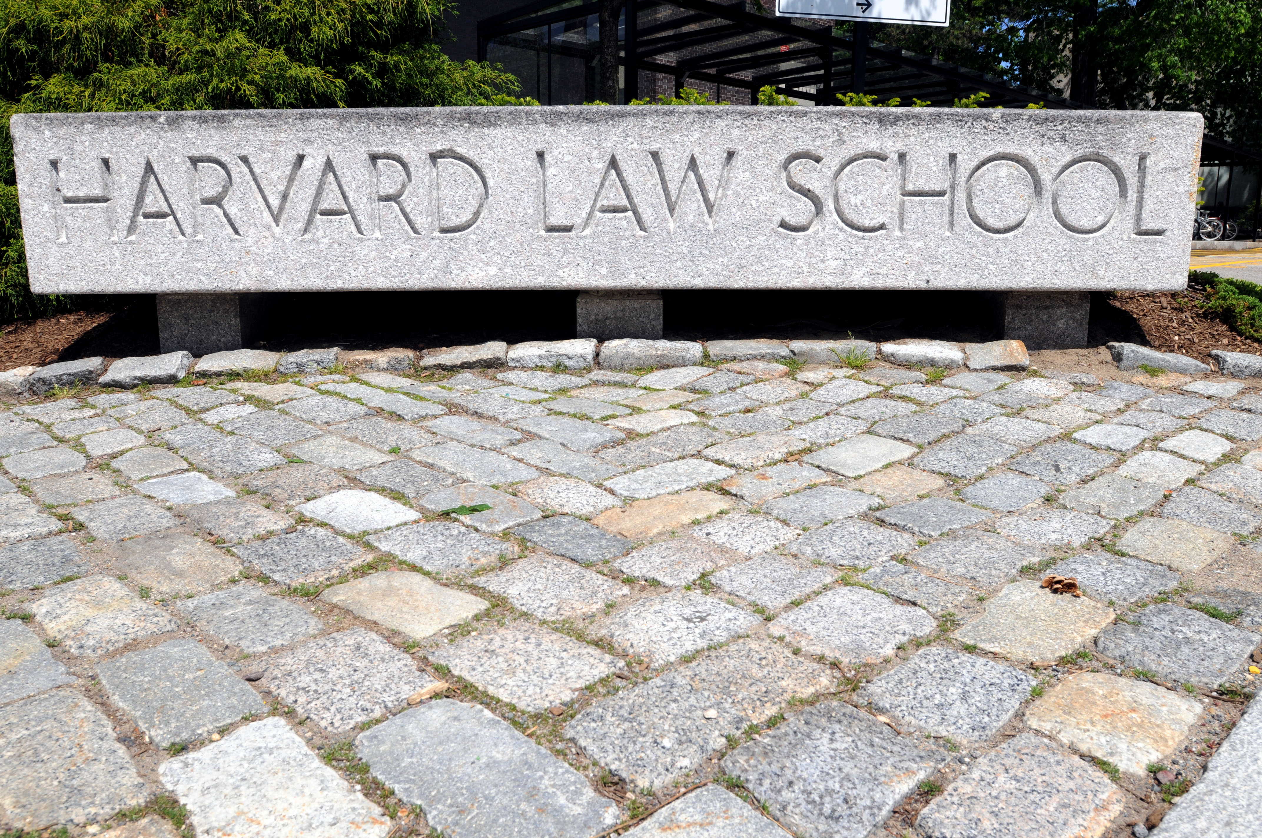 The entrance to Harvard Law School campus is seen in 2010