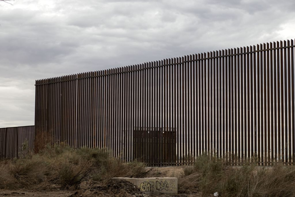 View of a section of the new border fence between Mexico and the US in Mexicali, Baja California state, Mexico on March 10, 2018.