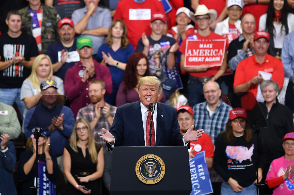 President Donald Trump speaks during a rally at the Mayo Civic Center in Rochester, Minnesota, on Oct. 4, 2018.