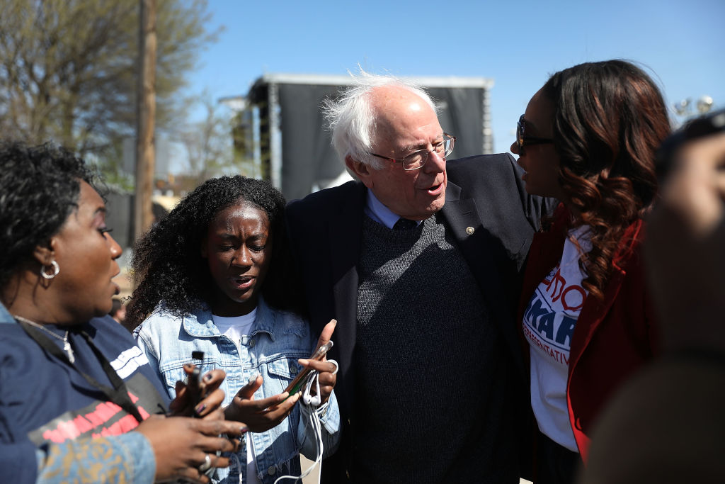 Sen. Bernie Sanders (I-VT) joins others to mark the 50th anniversary of Dr. Martin Luther King Jr.'s assassination April 4, 2018 in Memphis, Tennessee.