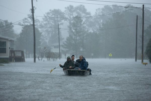 Volunteers from all over North Carolina are helping rescue residents from their flooded homes in New Bern, North Carolina.