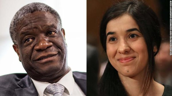 The joint recipients of the 2018 Nobel Peace Prize -- Denis Mukwege and Nadia Murad.