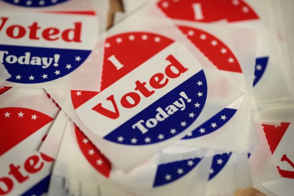 Stickers are made available to voters who cast a ballot in Des Moines, Iowa, on Oct. 8, the first day of early voting in the state.