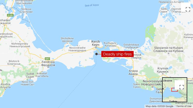 Russia Crimea explosion as ship catches fire in the Kerch Strait