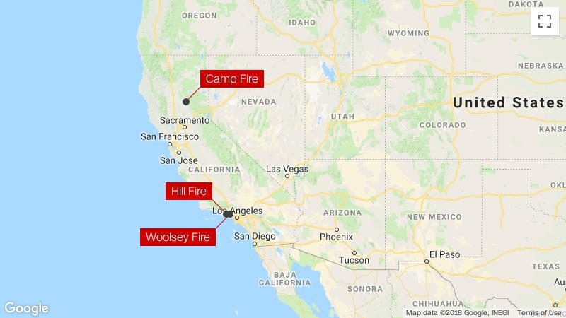Northern California Fire Map 2018.California Wildfires At Least 23 Dead As Fires Spread On Both Ends