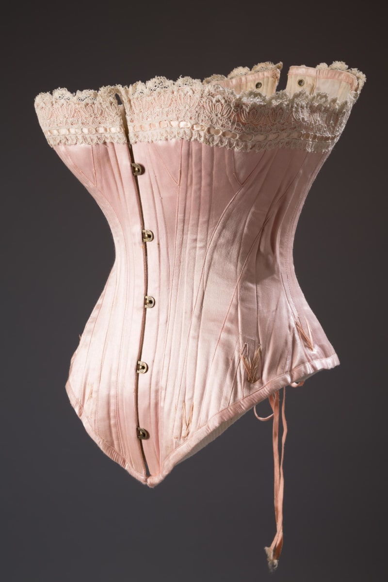 A pink corset dating back to 1880s America.