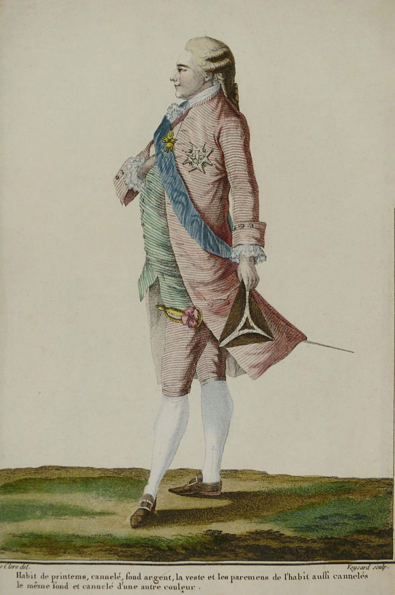 A 1779 image of a man dressed in pink, by Pierre-Thomas LeClerc.