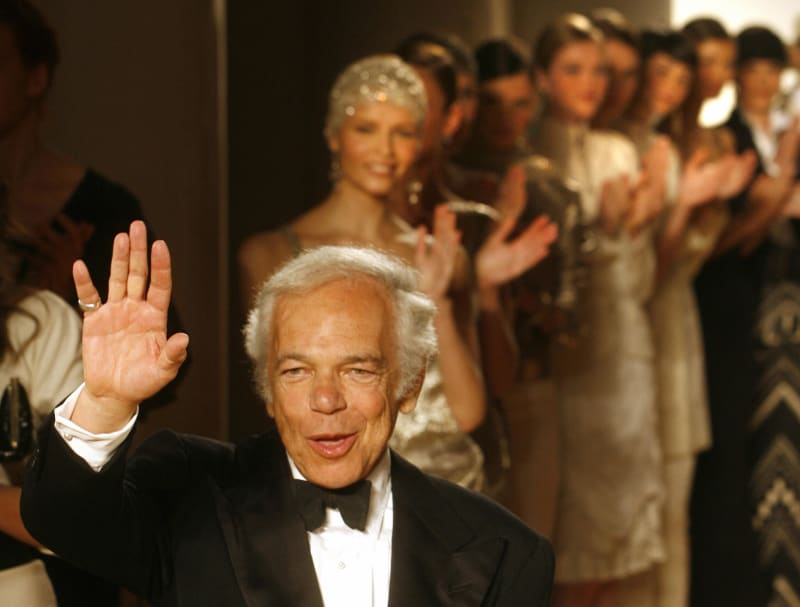 Ralph Lauren acknowledges greetings after his fashion show in the Spaso House, US Ambassador's residence in Moscow, May 15, 2007. Credit: Mikhail Metzel