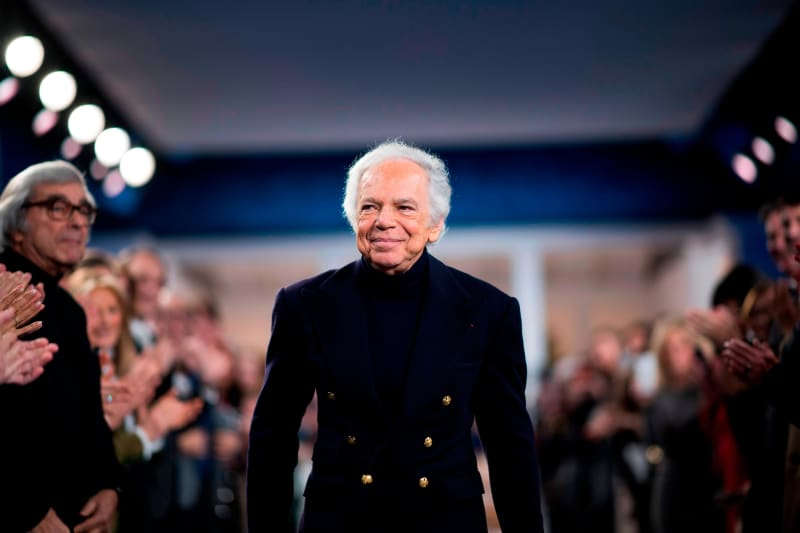 American fashion designer Ralph Lauren greets attendees after presenting his creations during the New York Fashion Week on February 12, 2018, in New York. Credit: Jewel Samad