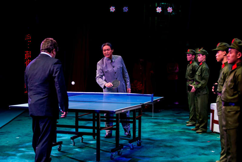 Actor Loong Koon-tin plays ping pong as former Chinese leader Mao Zedong.