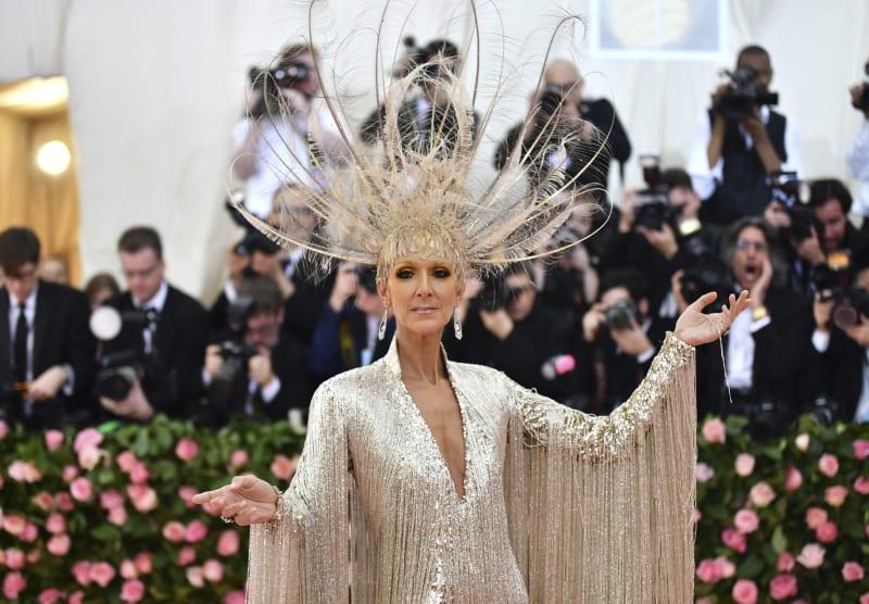 Celine Dion attends the Met Gala wearing Oscar de la Renta.