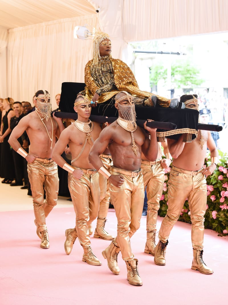 Billy Porter makes an  entrance at the Met Gala.