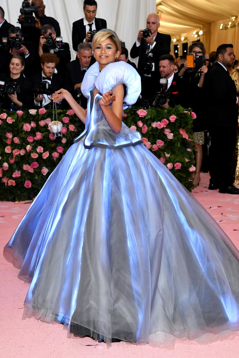Zendaya wore a glowing dress to the camp-themed event. Credit: Dimitrios Kambouris/Getty Images North America/Getty Images for The Met Museum/