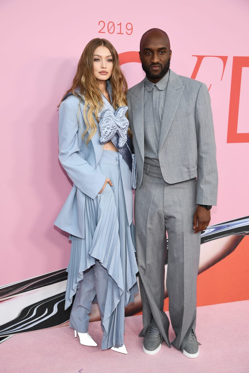 Gigi Hadid and Virgil Abloh on the red carpet at the CFDA Fashion Awards.