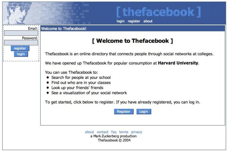 Facebook changes 2004