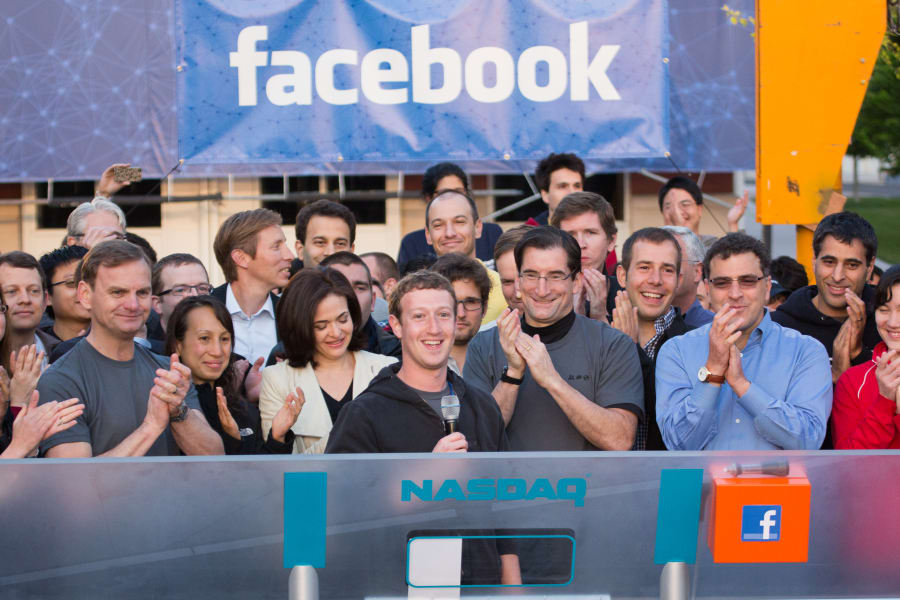 Facebook IPO celebration ring bell