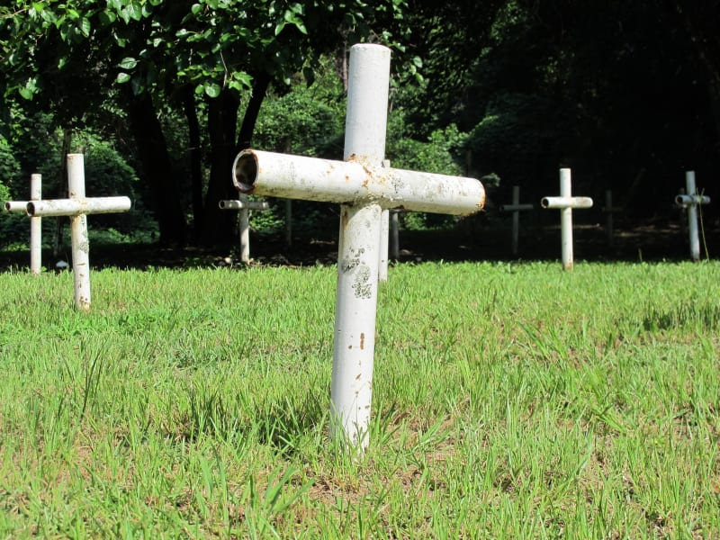 Florida reform school graves cross closeup