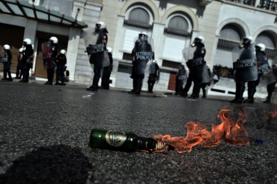 Greece protest molotov