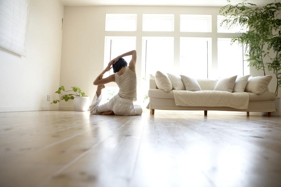 change space woman yoga stretch