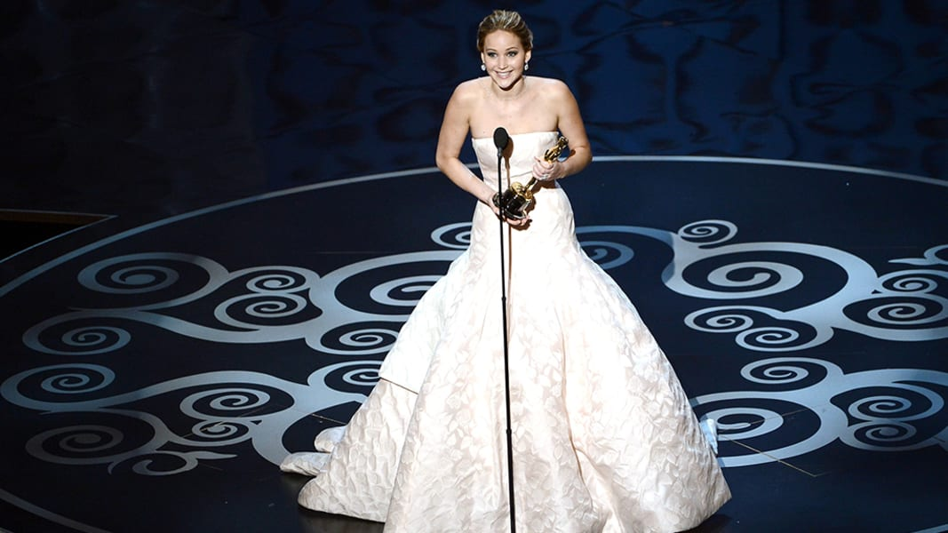 oscar photos Jennifer Lawrence accepts award