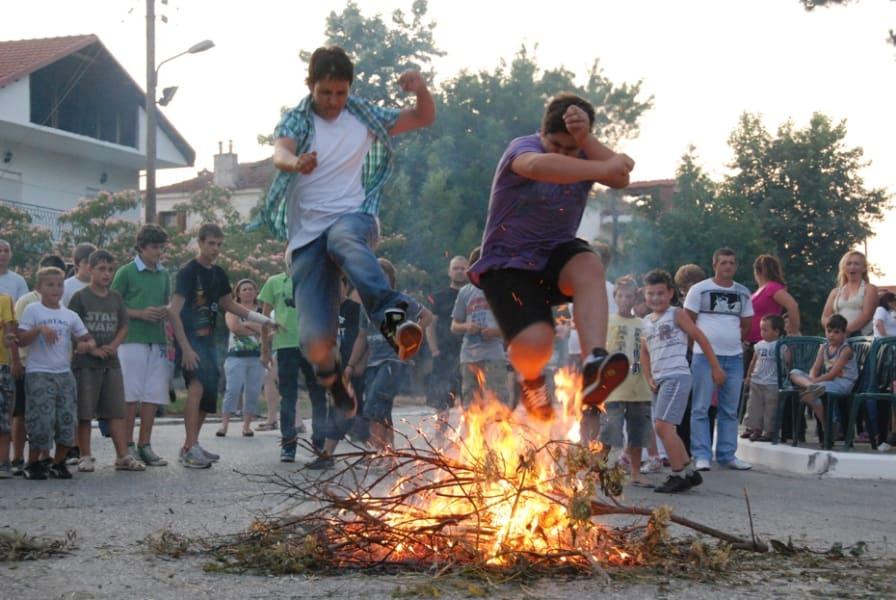 Summer solstice Greece Klidonas bonfire