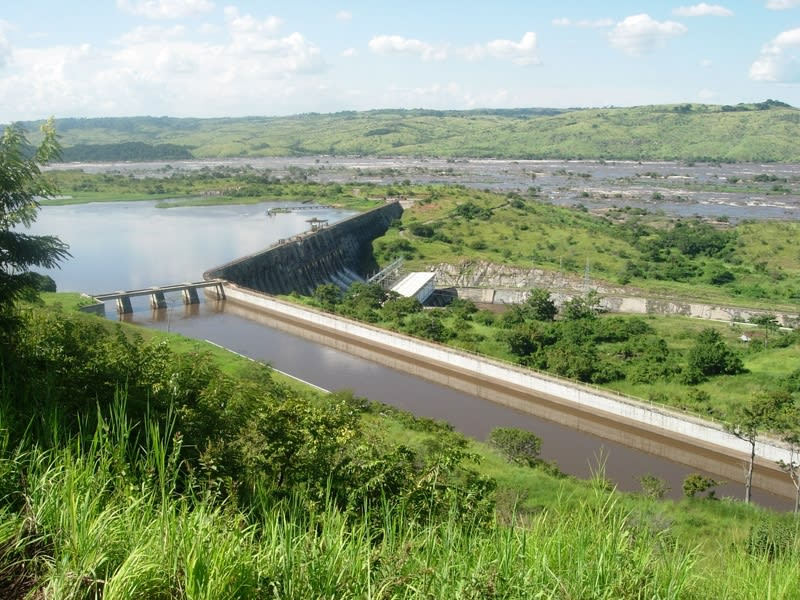 Inga dam congo river aerial view
