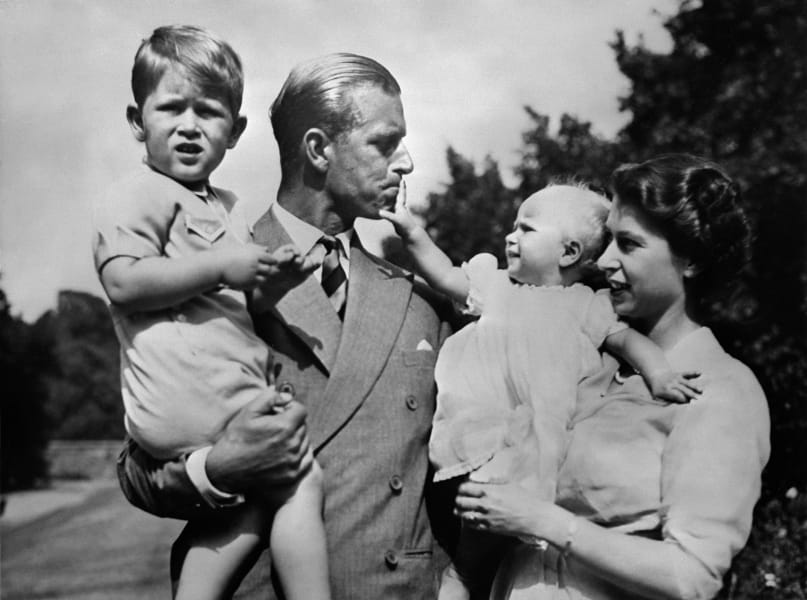 Queen Elizabeth Prince Philip Charles baby Anne
