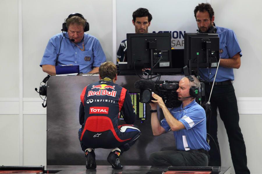 Sebastian Vettel weighing