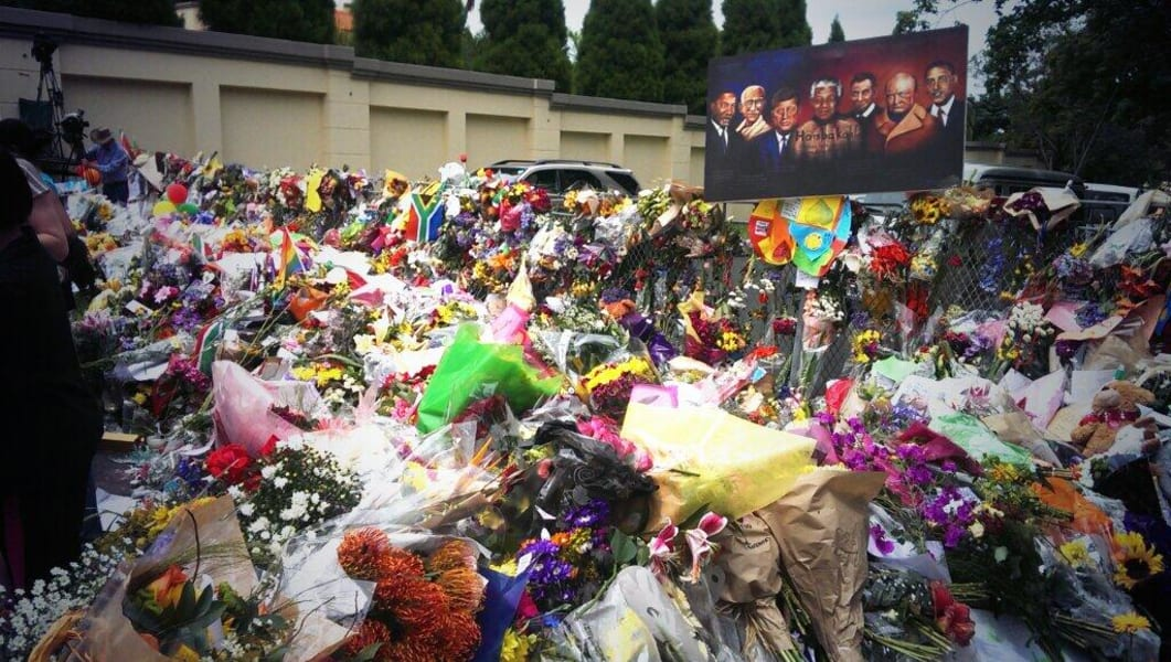 Flowers in commemoration of Mandela