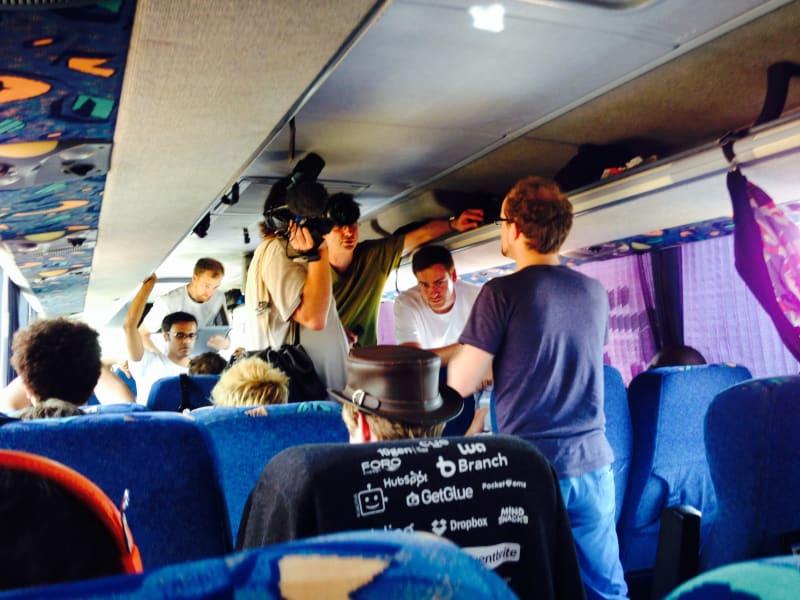 Startupbus inside the bus
