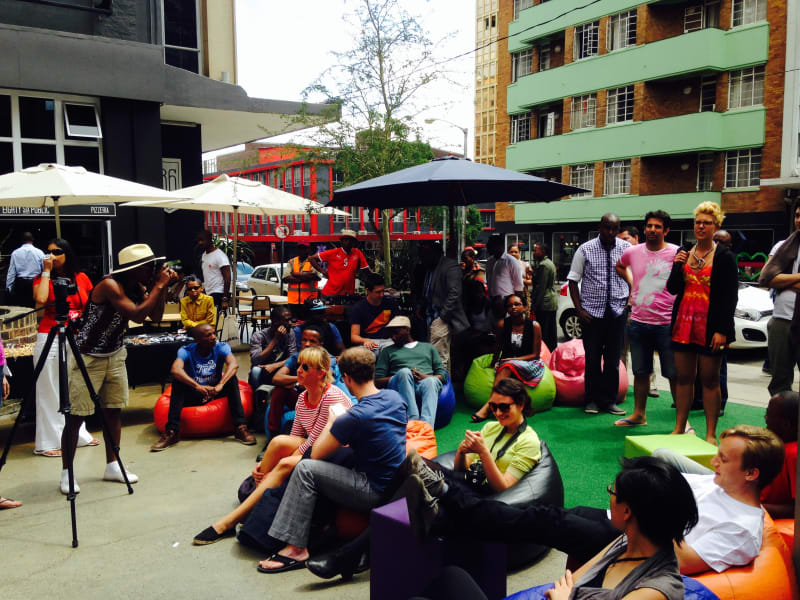 Startupbus event meeting outside