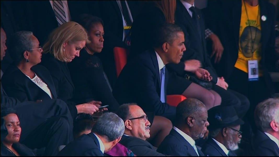 Obama Mandela memorial swap