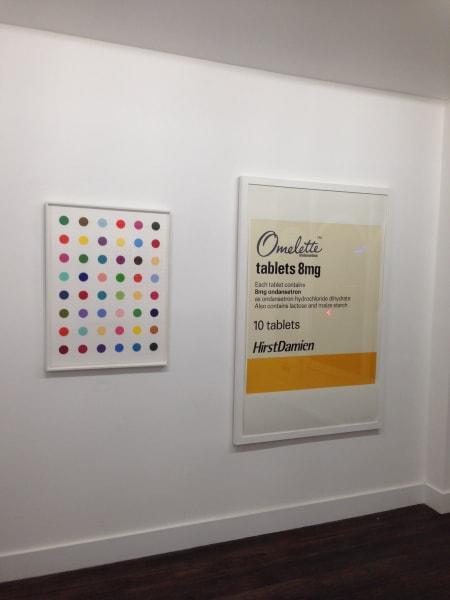 "Damien Hirst ""Oleoylsarcosine"" hanging in the Exhibitionist Gallery, London, before it was stolen on December 9, 2013."