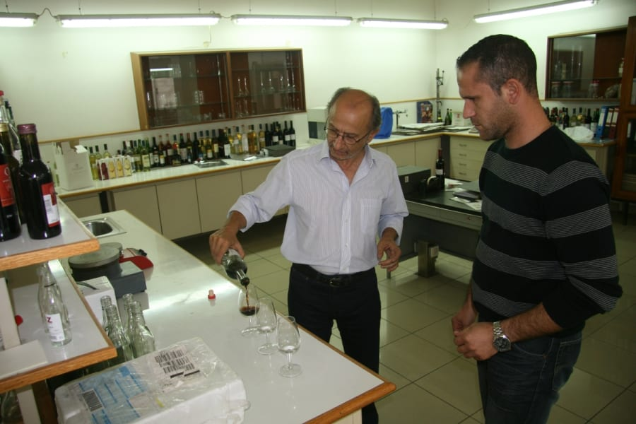 The KEO winemakers in their lab