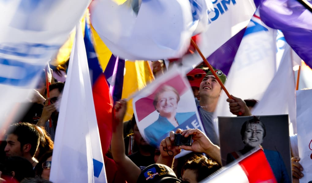 chile election bachelet supporters