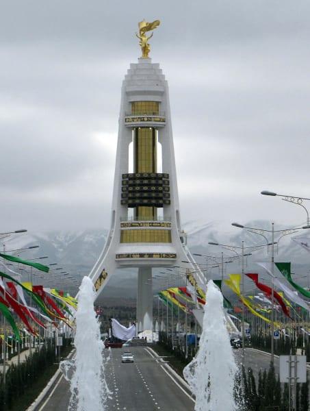 ugly monuments Neutrality Monument Ashgabat
