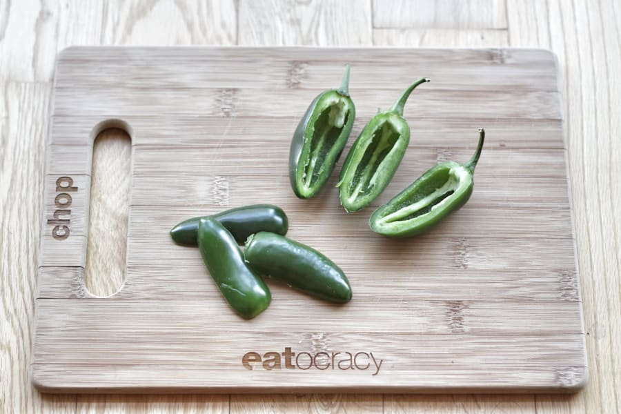 jalapenos on cutting board