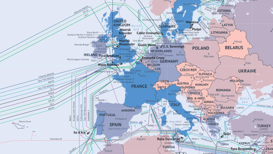What the Internet looks like: Undersea cables wiring ends of ...