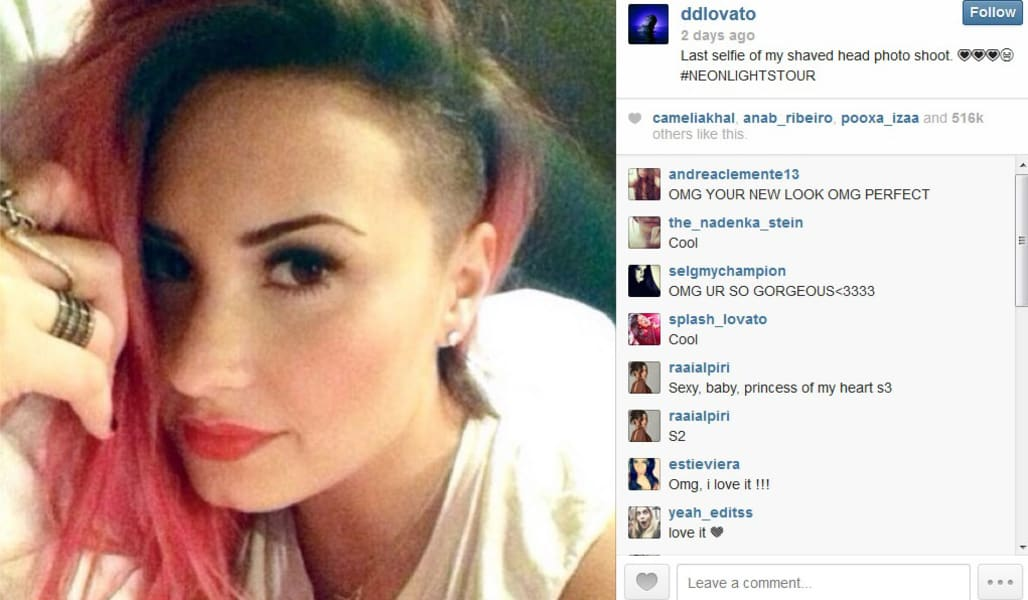 Demi Lovato Instagram haircut