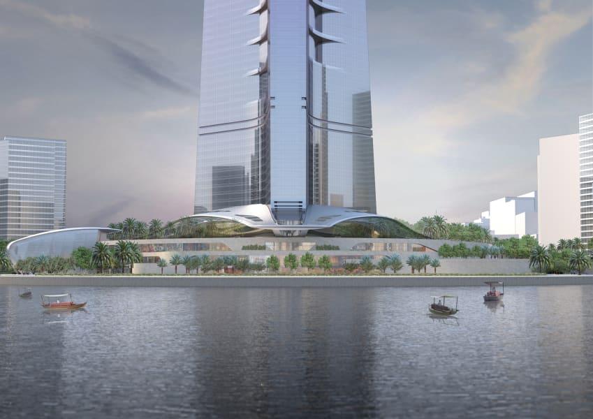 Saudi freedom tower water canopies