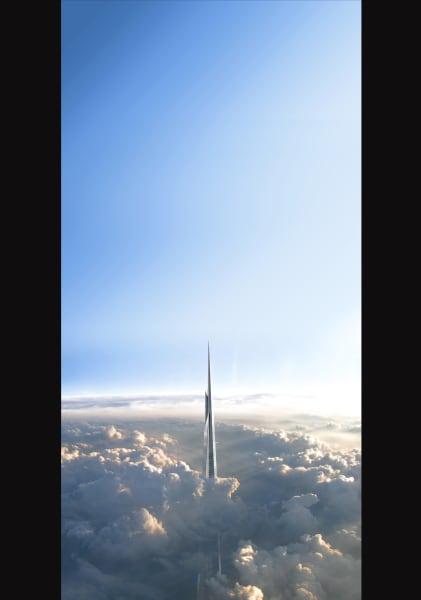 saudi freedom tower cloud view