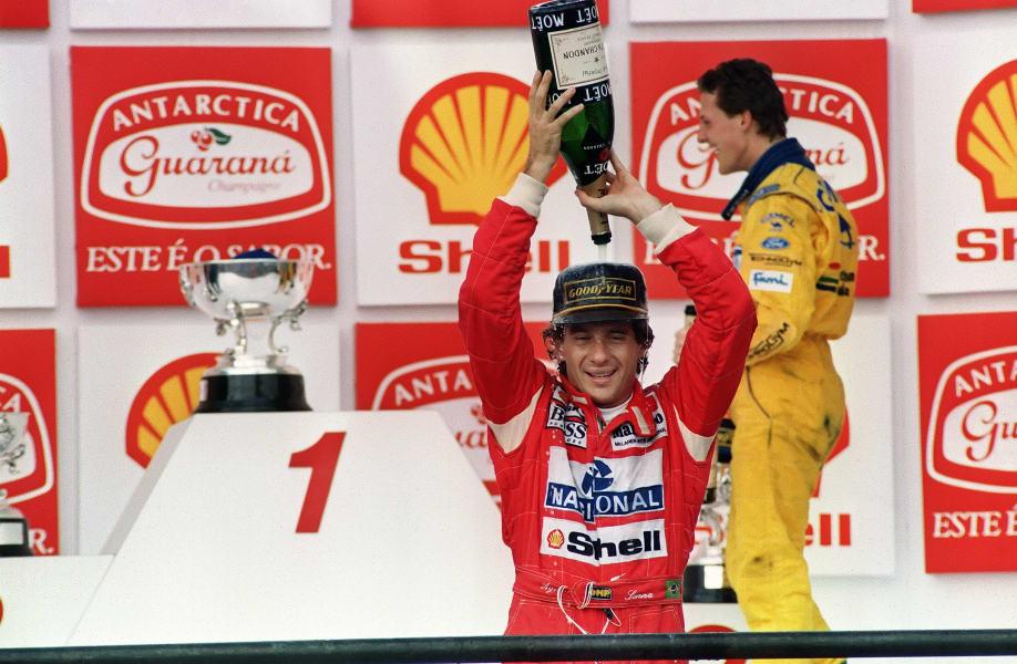 Ayrton Senna celebrates