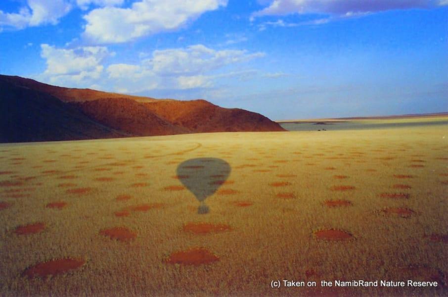 Namibia fairy circles balloon shadow