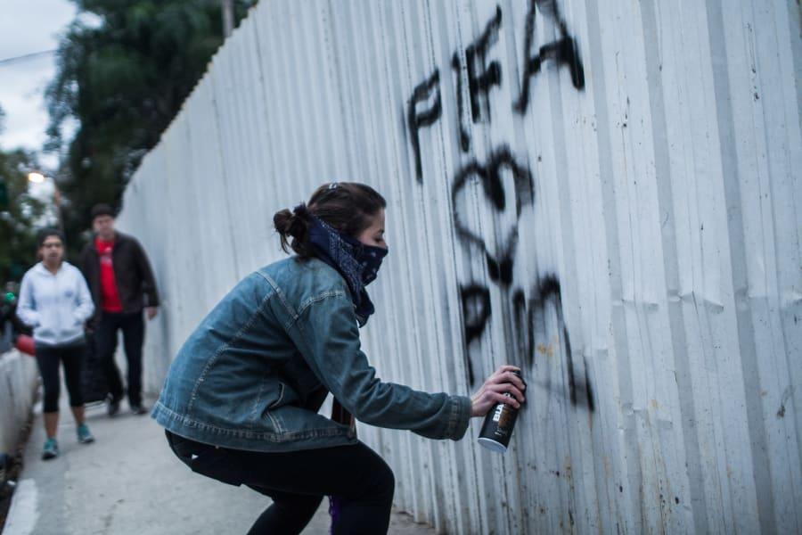 world cup protestor grafiti