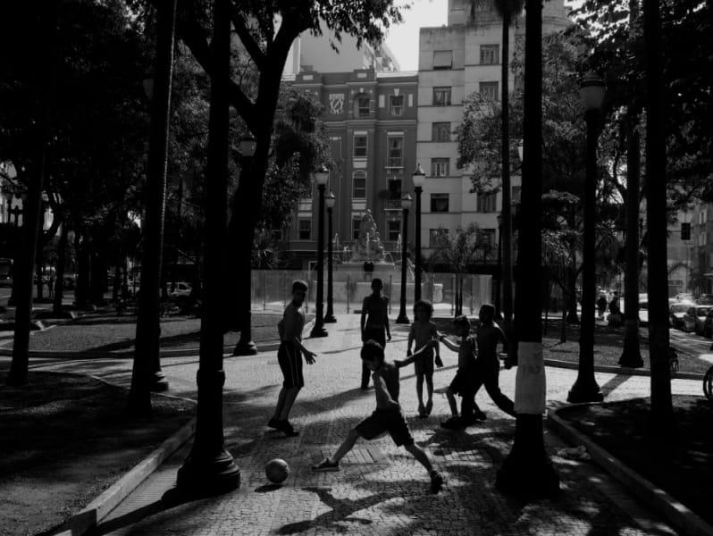 Brazil kids play in street